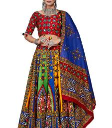 Multicolor thread embroidery cotton semi stitched lehenga