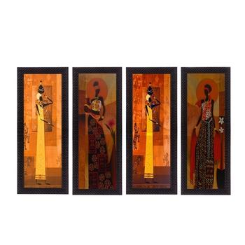 Set Of 4 Tribal Women Satin Matt Texture UV Art Painting