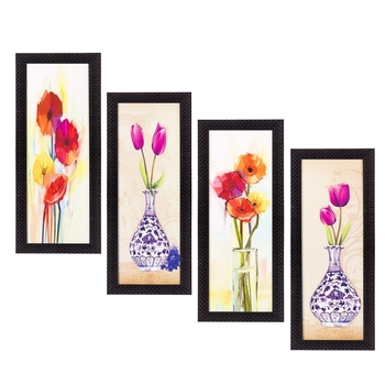 Set Of 4 Botanical Floral Pots Satin Matt Texture UV Art Painting