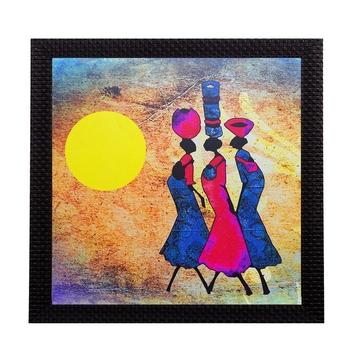 Abstract Village Women Satin Matt Texture UV Art Painting