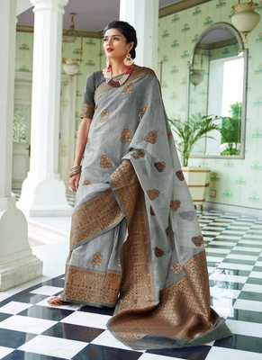 Grey woven linen saree with blouse