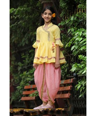 Traditional Dhoti Set with Collar - Yellow & Peach