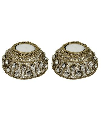 R Sanskruti Handmade Decorative Antique Candles Holder for Home Office Puja Articles Diya Set (Pack of 2)