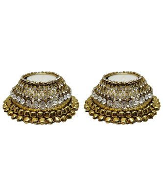 R Sanskruti Handmade Decorative Antique Candles Holder for Home Office Puja Articles Diya Set (Pack of 2)