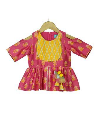 Slit Peplum Top with Dhoti - Fuchsia Pink & Yellow