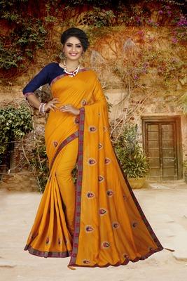 Yellow embroidered art silk sarees saree with blouse