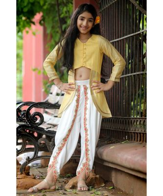 Mughal-Style Top with Colorful trimmed Dhoti - Yellow & White