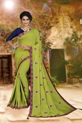 Parrot green embroidered art silk sarees saree with blouse