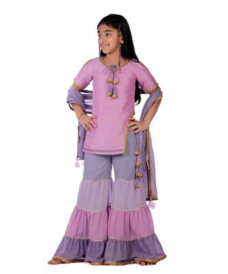 Elegant Sharara Kurti Set - Hues of Lilac