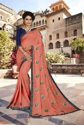 Mustard embroidered art silk sarees saree with blouse