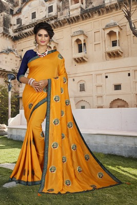 Yellow embroidered art silk sarees saree with blouse