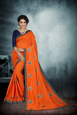 Orange embroidered art silk sarees saree with blouse