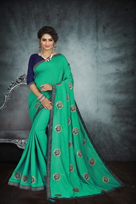 Green embroidered art silk sarees saree with blouse