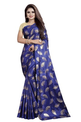Blue printed art silk sarees saree with blouse