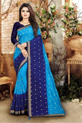 Blue printed art silk sarees saree with blouse