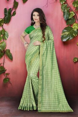 Parrot Green Plain Art Silk Sarees Saree With Blouse