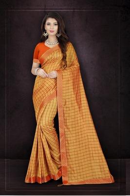 Orange plain art silk sarees saree with blouse
