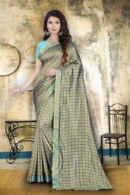 Sky blue plain art silk sarees saree with blouse