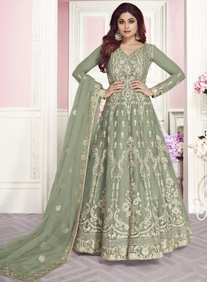 Light Olive Wedding Wear Designer Net Anarkali Suit