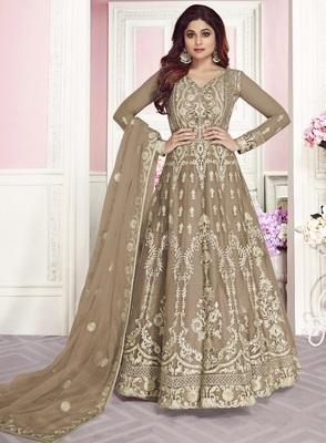 Light Brown Wedding Wear Designer Net Anarkali Suit