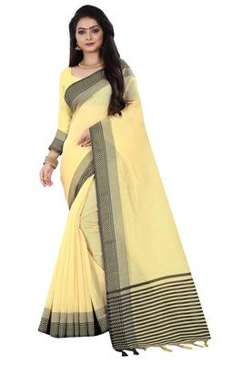 Yellow zari linen saree with blouse