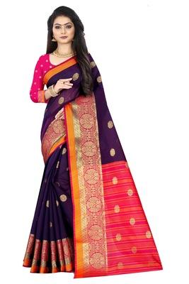 Purple zari silk saree with blouse