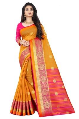Orange zari silk saree with blouse