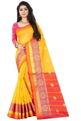 Yellow zari silk saree with blouse