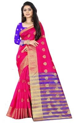Pink zari silk saree with blouse