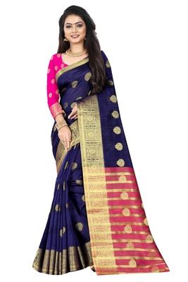 Blue zari silk saree with blouse