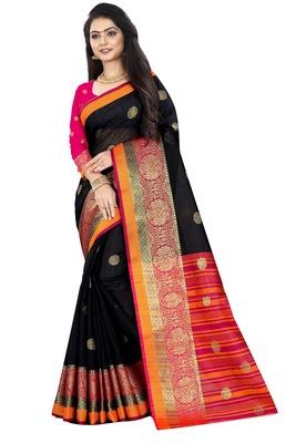 Black zari silk saree with blouse