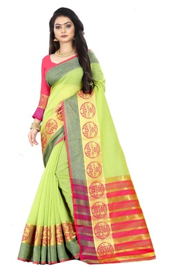 Green zari silk saree with blouse