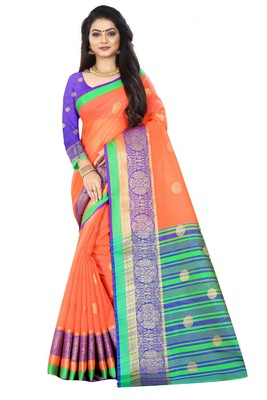 Peach zari silk saree with blouse