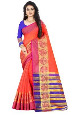 Peach zari silk saree with blouse