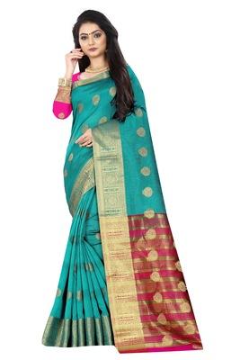 Green zari  silk saree with blouse