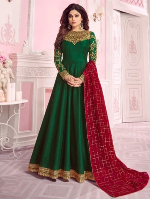 Dark Green  embroidered silk blend semi stitched salwar with dupatta