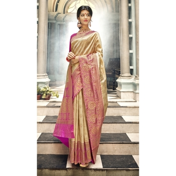 Golden woven art silk saree with blouse