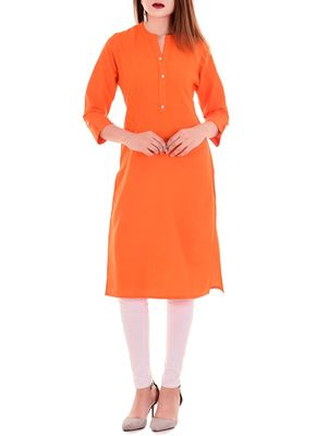 Orange plain cotton long-kurtis