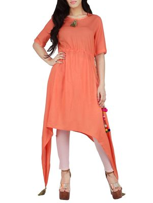 Orange plain rayon long-kurtis