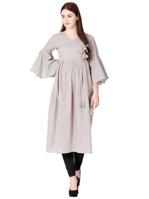Grey plain cotton long-kurtis