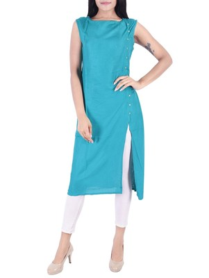 Blue plain rayon long-kurtis