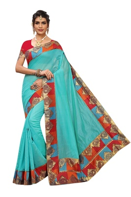 Turquoise plain Chanderi Cotton saree with blouse