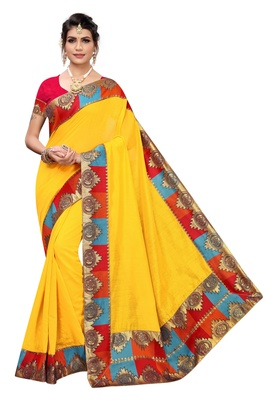 Yellow Plain Chanderi Cotton Saree With Blouse