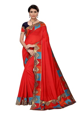 RED Plain Chanderi Cotton Saree With Blouse