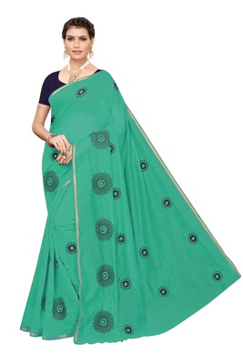 Turquoise embroidered chanderi silk saree with blouse