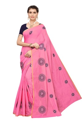 Pink embroidered chanderi silk saree with blouse
