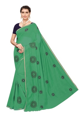 Green embroidered chanderi silk saree with blouse