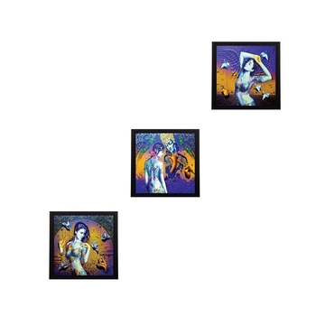 Set of 3 Abstract Lady Satin Matt Texture UV Art Painting