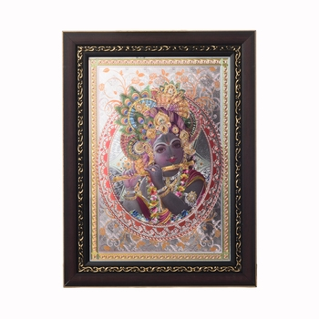 Lord Krishna Laminated Silver and Golden Foil