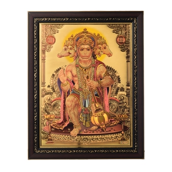 Lord Hanuman Laminated Golden Foil